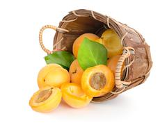 apricots in a basket - stock photo