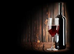 red wine with a wineglass - stock photo