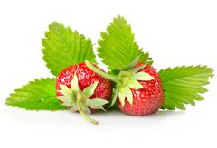 ripe strawberries with leaves - stock photo