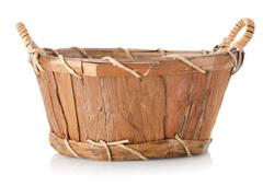 wooden wattled basket - stock photo