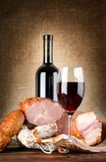 Stock Photo of wine and meat