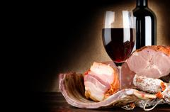wineglass and meat - stock photo