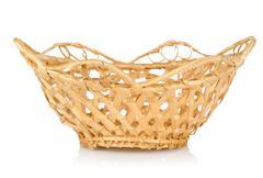 wooden wattled basket isolated - stock photo