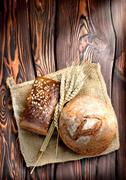 bakery products and wheat - stock photo