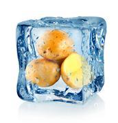 ice cube and potato - stock photo