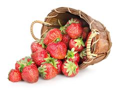 strawberries and basket - stock photo