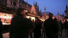Europe German Christmas Advent Fair Market Xmas - stock footage
