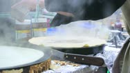 Europe German Christmas Advent Fair Market Xmas Crepes Pancake making Stock Footage