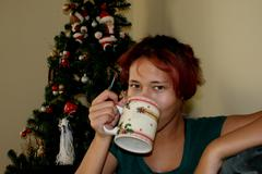 Hot Drink by the Tree. Stock Photos
