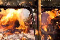 Fire burning wood Stock Photos