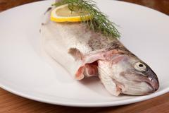 Fish trout meal plate Stock Photos