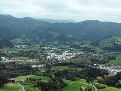 Aerial scenery at the azores Stock Photos