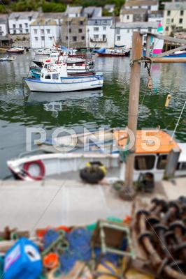 Stock photo of polperro fishing village harbor
