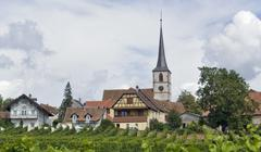 idyllic mittelbergheim - stock photo