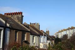 terrace houses homes england hastings - stock photo