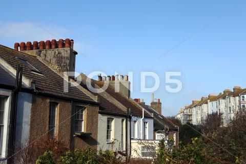 Stock photo of terrace houses homes england hastings