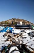 trawler fishing boat industry hastings winter - stock photo