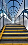 footbridge stairs pedestrian flyover - stock photo