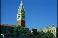 Stock Video Footage of POV from gondola on The Grand Canal, Venice, Italy, pass top of Campanile