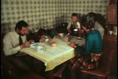 Italian Family, Venice, Italy, Daponte's, eating breakfast, dining room table - stock footage