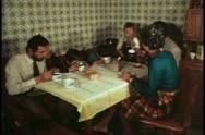Italian Family, Venice, Italy, Daponte's, eating breakfast, dining room table Stock Footage