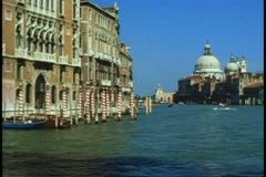 POV from gondola on The Grand Canal, Venice, Italy, passing palazzos Stock Footage