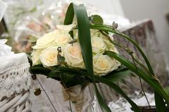 wedding bouquet white rose - stock photo