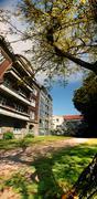 Stock Photo of apartment block in park