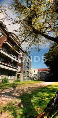 Stock photo of apartment block in park