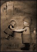 waltz wind-up tin toy illustration - stock illustration