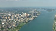 Stock Video Footage of Detroit by Helicopter