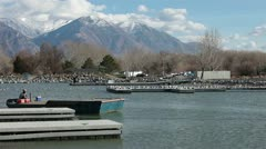Commercial carp fishing barges Utah State Park lake 2 HD 0787 Stock Footage