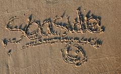 seaside greeting - stock photo