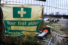 first aid building site - stock photo