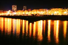 Brighton night shoreline Stock Photos