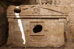 harbour monumantal tombs at turkey olympos - stock photo