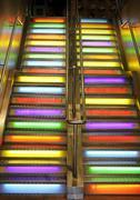 stairs neon light - stock photo