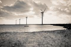 offshore wind turbines - stock photo