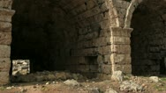 Ancient Olympic Roman stadium gate in Perge Stock Footage