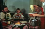 Dining room table, Venice, Italy, mother serves spaghetti to family Stock Footage