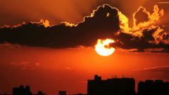 Big Close Sun - City View Stock Footage