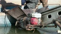 Fisheman loading carp fish into boat conveyor HD 0798 Stock Footage