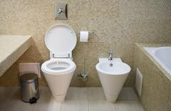 toilet with lavatory pan and bidet - stock photo
