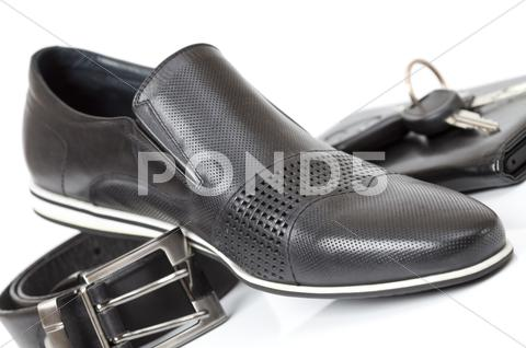 Stock photo of black male shoe