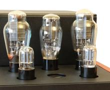 vacuum tube amplifier on 300b triodes - stock photo