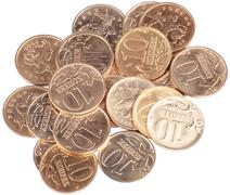 Scattering of coins close up Stock Photos