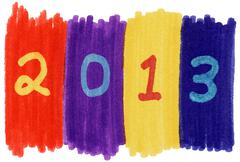 2013 written with colorful felt tip marker pens. Stock Photos