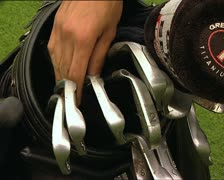 GOLF iron picked by hand - stock footage