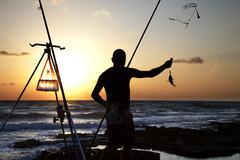 catching the fish - stock photo