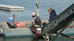 Fishermen empty boat commercial fishery fast HD 0813 Stock Footage